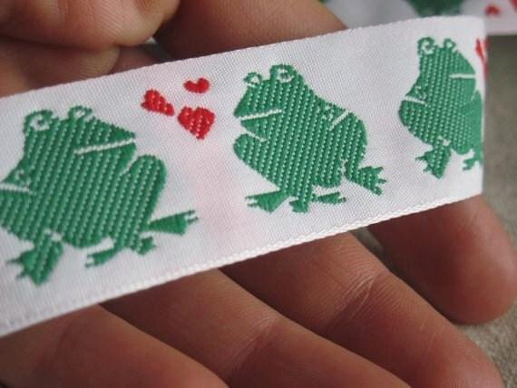 Kissing Frogs Jacquard Ribbon