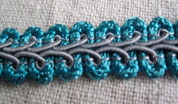 GREY and TURQUOISE scroll trim