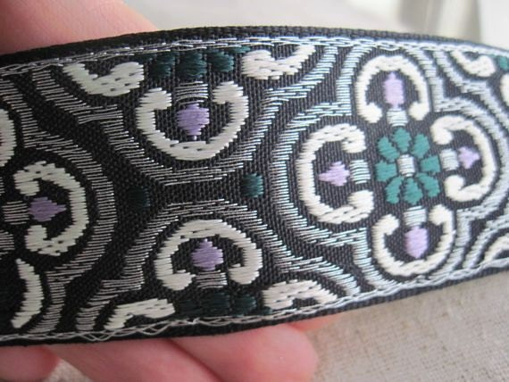 Caratacus CELTIC pattern woven jacquard ribbon in GREEN, LAVENDER and Silver