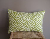 On Sale Only Until May 10th One 16 x 12 Green Animal Print Throw Pillow Cover