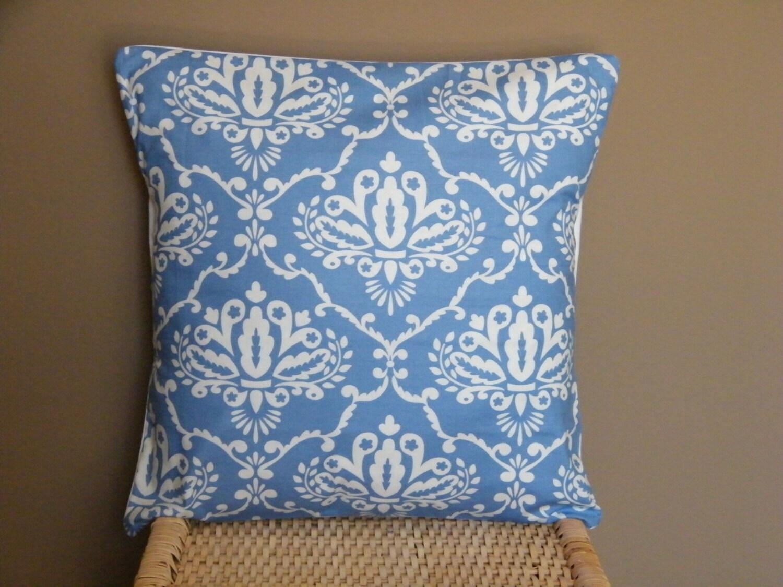 Smoke Blue Throw Pillow : FALL SALE ONE 16 x 16 LEONIKA DAMASK IN BLUE THROW PILLOW