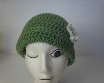 Adult  Crochet Cap, Forest Green With, Interchangeable Shamrock, Flower, Fun Headcover