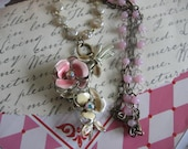 vintage assemblage flower rhinestone necklace.Pink Christmas 2