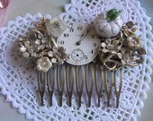 Cinderella at the Ball.vintage assemblage fairytale  rhinestone bridal hair comb