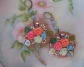 Sorbet Shabby Chic.vintage brass flower assemblage dangle earrings