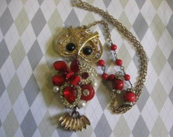 The Owl WHO loved me...vintage assemblage necklace