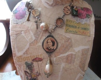 Miss Crabtree one of a kind  vintage assemblage  necklace