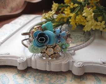 The Blue Rose vintage assemblage bracelet