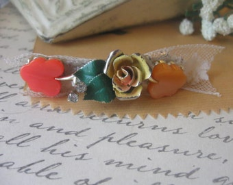 Autumn Day.vintage assemblage barrette
