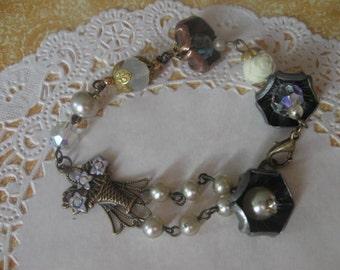 Fushia Flowers Collection no.1.vintage assemblage bracelet