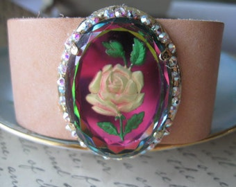 Lit from Within.vintage flower  leather cuff jewelry assemblage bracelet