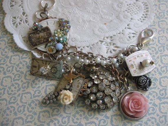 10% off Sale see details.Down The Rabbit Hole. vintage one of a kind assemblage bracelet