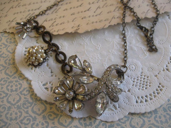 Ethereal Beauty.vintage assemblage old ooak necklace