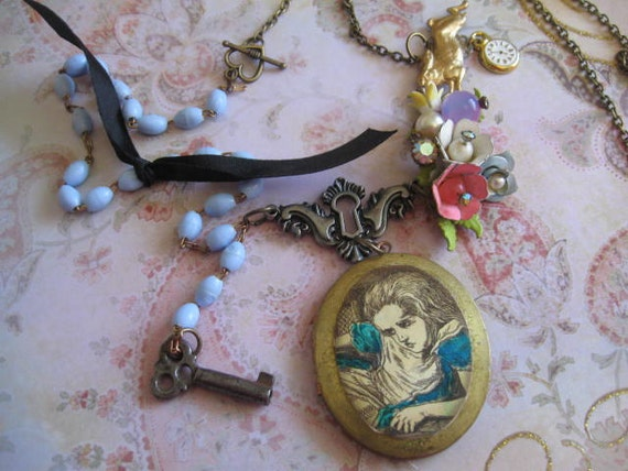 Alice Down the Rabbit Hole.vintage assemblage necklace