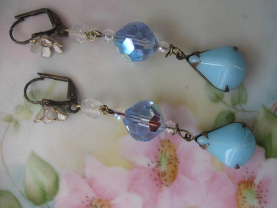 Baby Blue .vintage assemblage flower and beaded dangle  earrings
