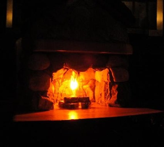 Exceptional Adirondack Cabin Stone Fireplace Lamp