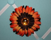 Orange and Brown Boutique Layered Daisy Hairbow Clip