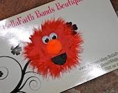 ELMO Fuzzy Red Marabou Boa Boutique Hair Bow Clip