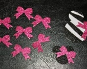 20 Minni Mouse BOWS Hot Pink Sparkly Paper Card Stock Punch Cut Outs Embellishments