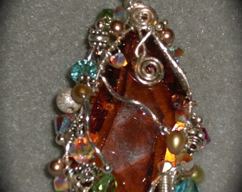 Wire wrapped 50mm swarovski crystal pendant