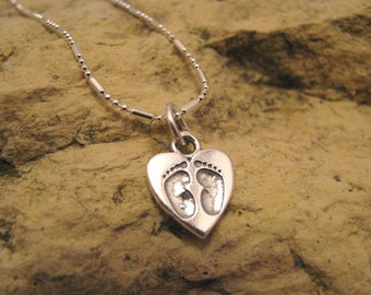 Tiny Feet - sterling silver heart charm