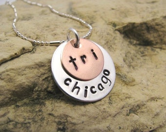 Triathlon City Charm - Hand Stamped