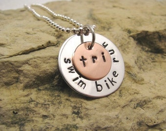 Triathlon Sterling Silver Charm - swim bike run - Tri Jewelry - can also be Duathlon