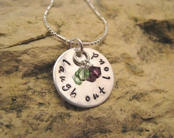 Laugh Out Loud - hand stamped charm