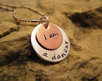 i am a dancer- silver and copper charm