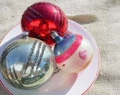 vintage shabby chic glass ornaments-blue, red  & silver