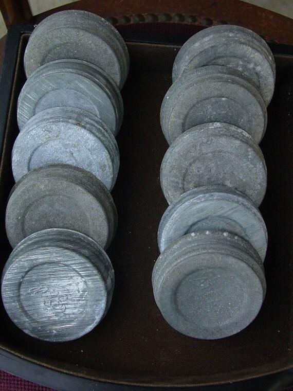 vintage mason jar zinc lids with milk glass-group of 10 Ball lids for mono1984