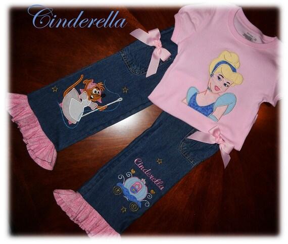 Sample Sale Princess Cinderella Custom Boutique Disney Jean Set Applique- Introductory SALE