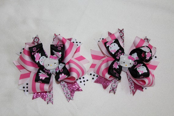 Hello Kitty Pink Stripes Custom Boutique Layered Hair Bows Set Pigtails Party Birthday