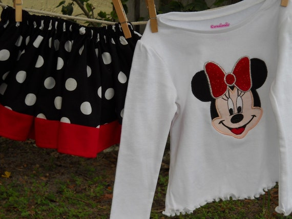 SALE Minnie Mouse twirl skirt set size 24 mons. ready to ship