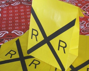 Railroad Sign Train Theme Birthday Party Favor Treat Sacks Favor Bags by jettabees on etsy