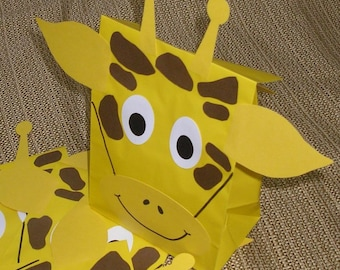 Giraffe Treat Sacks - Jungle Zoo Safari Theme Birthday Party Favor Bags by jettabees on Etsy