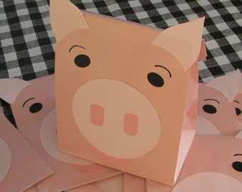 Pink Pig Treat Sacks - Farm Hamm Toy Story Barnyard Theme Birthday Party Favor Bags by jettabees on Etsy