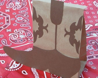 Cowboy Boot Birthday Party Favor Treat Sacks BOOTS Western Farm Theme Goody Bags by jettabees on Etsy