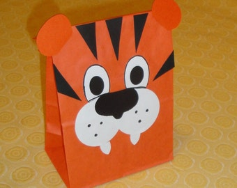 Tiger Treat Sacks - Jungle, Zoo, Safari, Curious George Theme Birthday Party Favor Goody Bags by jettabees on Etsy