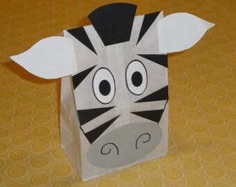 Zebra Treat Sacks - Jungle Zoo Safari Theme Birthday Party Favor Bags by jettabees on Etsy