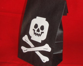Building Block Pirate Birthday Party Treat Sacks LEGO (R) Theme Goody Favor Bags by jettabees on Etsy