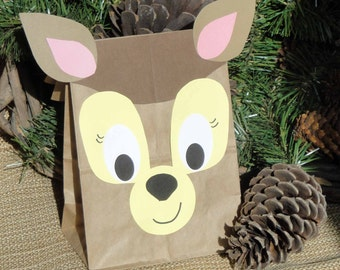 Deer Treat Sacks - Woodland Forest Fawn Hunter Theme Birthday Party Favor Goody Bags by jettabees on Etsy