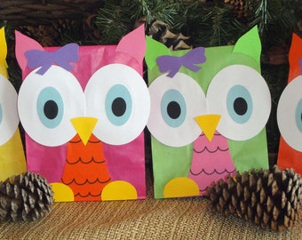 Colorful Hoot Owl Treat Sacks - Woodland Forest Bird Theme Birthday Party Favor Goody Bags by jettabees on Etsy