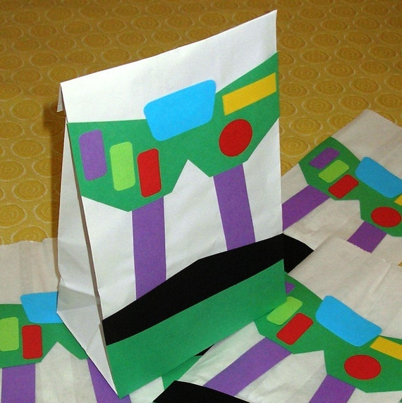 Buzz Lightyear Treat Sacks - Toy Story Theme Birthday Party Goody Bags by jettabees on Etsy