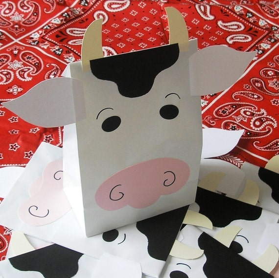 Moo Cow Treat Sacks - Farm Barnyard Country Milk Dairy Theme Birthday Party Favor Bags by jettabees on Etsy