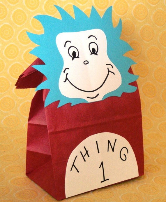 Cat In The Hat Birthday Party Treat Sacks Dr Seuss Thing 1