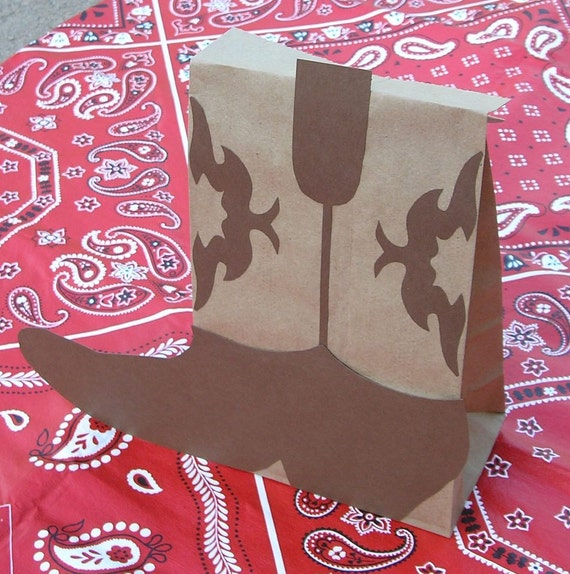 RESERVED for mbelo - Cowboy Boot Treat Sacks BOOTS Western Farm Birthday Party Favor Goody Bags by jettabees on Etsy