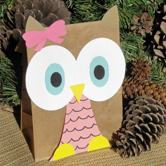 Hoot Owl Treat Sacks - Woodland Forest Bird Valentines Theme Birthday Party Goody Favor Bags by jettabees on Etsy