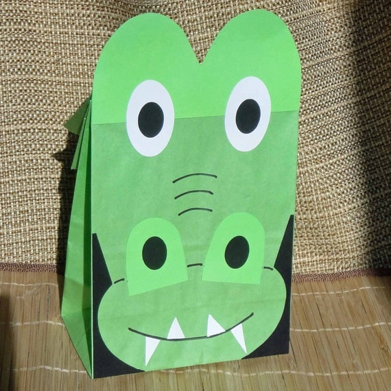 Alligator Birthday Party Favor Treat Sacks Reptile Swamp Crocodile Theme Goody Bags by jettabees on Etsy