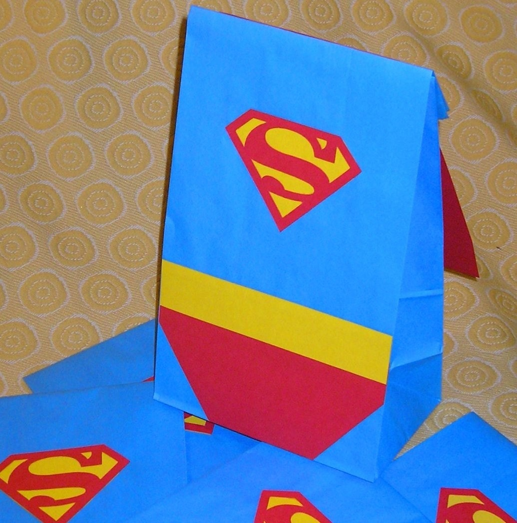 Superman birthday party treat sacks comic book theme goody - Bolsas para flash ...